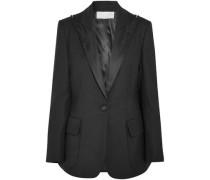 Zip-detailed Satin-trimmed Wool-blend Twill Blazer Black