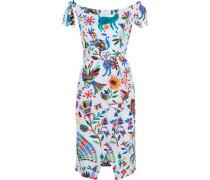 Ellen wrap-effect printed stretch cotton-poplin dress