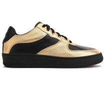 Woman Paneled Textured-leather Sneakers Black