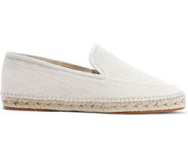 Leather-trimmed Woven Espadrilles Ecru