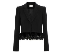 Helen cropped feather-trimmed crepe blazer