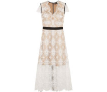 Garland Macramé Lace Midi Dress Ivory