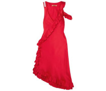 My Special Something Cold-shoulder Ruffled Silk-satin Midi Dress Red