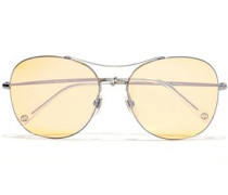 Woman Aviator-style Silver-tone Tinted Sunglasses Silver