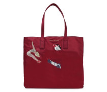 Embellished embroidered shell tote