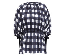 Woman Velvet-trimmed Checked Cotton And Silk-blend Satin Top Navy