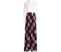 Crepe-paneled macramé lace gown