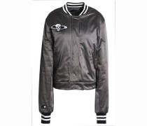 Appliquéd satin bomber jacket