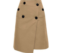 Cotton-blend Gabardine Wrap Skirt Beige