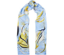 Woman Printed Silk-chiffon Scarf Light Blue