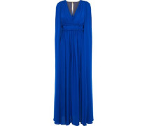 Cape-back Pleated Silk-chiffon Gown Royal Blue Size 00