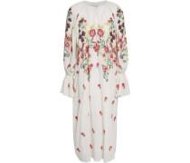 Embellished Cotton-gauze Midi Dress White
