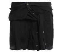 Tie-front Satin-crepe Mini Skirt Black
