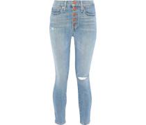 Distressed High-rise Skinny Jeans Light Denim  4