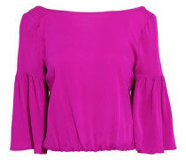 Lydia bow-detailed stretch-silk blouse