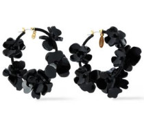 Gold-tone, Resin And Cord Hoop Earrings Black Size --