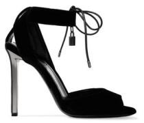 Embellished velvet sandals