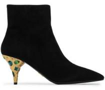 Crystal-embellished Suede Ankle Boots Black