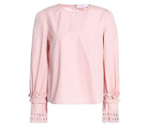 Broderie Anglaise-trimmed Cotton-poplin Top Blush