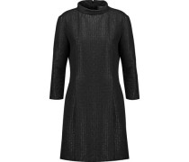 Metallic pleated tweed turtleneck dress
