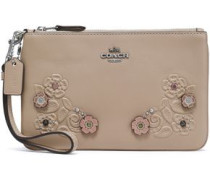 Embellished embossed leather pouch