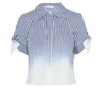 Cold-shoulder striped dégradé cotton-blend poplin shirt
