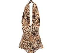 Halter Bill Ruched Leopard-print Halterneck Swimsuit Animal Print