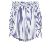 Lou Off-the-shoulder Striped Cotton-poplin Blouse Navy