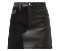 Woman Paneled Leather And Denim Mini Skirt Black