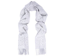 Fringed jacquard-knit wool and cashmere-blend scarf