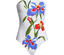Strapless Floral-print Swimsuit Ivory