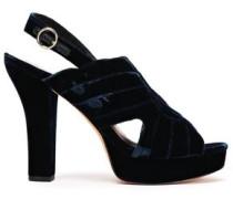 Tabby Quilted Velvet Platform Slingback Sandals Navy