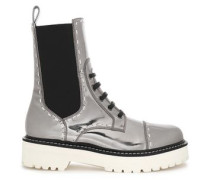 Metallic patent-leather boots