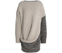 Draped paneled wool and cashmere-blend sweater