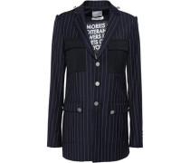 Pinstriped Wool-twill Blazer Navy