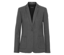 Wendy snake-effect leather-trimmed wool-blend twill blazer