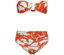Ruched Floral-print Bandeau Bikini Orange