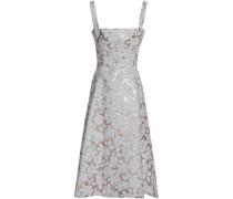 Flared Brocade Midi Dress Ivory