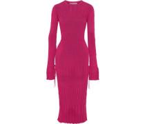 Woman Ribbed-knit Midi Dress Fuchsia