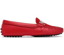 Quilted Suede Moccasins Red