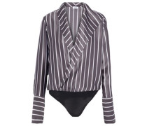 Reade wrap-effect striped silk-satin and stretch-jersey bodysuit