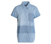 Wylie two-tone cotton-blend chambray shirt