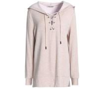 Lace-up cotton-fleece hooded sweatshirt