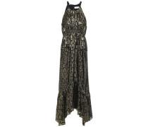 Gathered Metallic Fil Coupé Silk-blend Midi Dress Gold