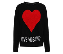 Flocked Intarsia-knit Sweater Black