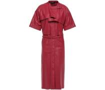 Woman Layered Belted Leather Dress Claret