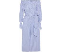 Lou Off-the-shoulder Striped Cotton-blend Poplin Jumpsuit Blue