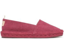 Kent Leather-appliquéd Cotton-canvas Espadrilles Magenta