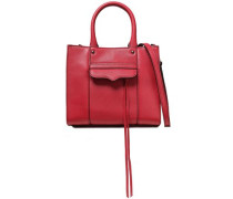 Woman Studded Pebbled-leather Tote Crimson