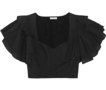 Cropped ruffled cotton-poplin top